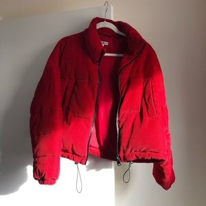 Red Cropped Urban Outfitters Puffer Size M